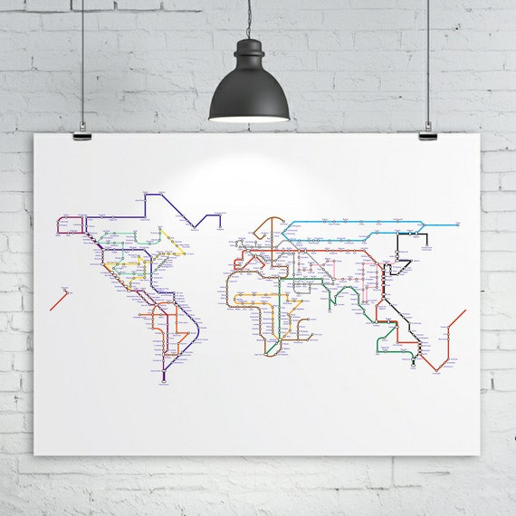 World map poster a subway map tube map metro map of the like this item gumiabroncs Gallery