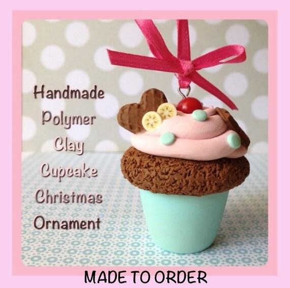 Polymer Clay Cupcake Christmas Ornament