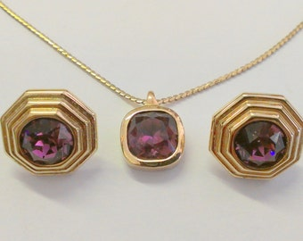 Vintage Christian Dior Amethyst Gold Tone Necklace and Earring Set