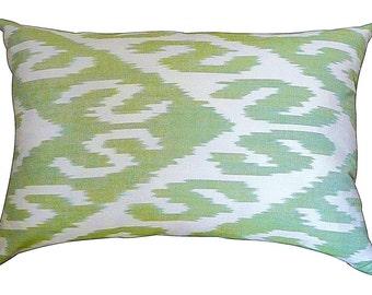 Uzbek Ikat pillow - green
