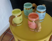 Tiki Mugs From The 1950's vintage MAD MEN Cool, tropical, pastel cups , retro.
