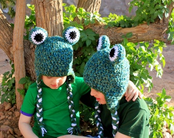 Frog hat.Crochet frog hat.Made to order.