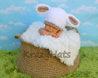 Crochet Lamb Hat. Made to order.