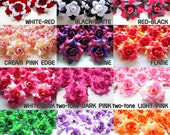 24 mini Silk Roses Heads Two Tone - Artificial Silk Flower - 1.75 inches - Wholesale Lot - for Wedding Work, Make Hair clips, headbands