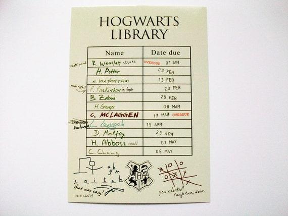Harry Potter Postcard Hogwarts Library Card