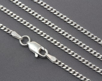 Curb Chain. Italy 925 Sterling Silver Curb Chain on 20  and 22 inches, lobster clasp. C60. Width: 2.1mm
