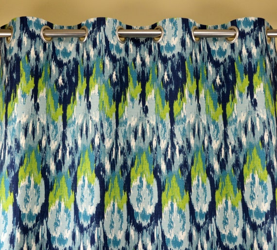 Navy Blue Teal Aqua Citrine Lime Green Frost Ikat Craze Curtains ...