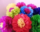 Tissue Paper Fiesta Flowers - Set of 8 Tissue paper flower - Decoration//Mexico//Parties Decor//Cinco de Mayo