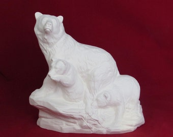 Large Ready to Paint Ceramic Bear Family - 9.5 inches, Unpainted ceramic bisque
