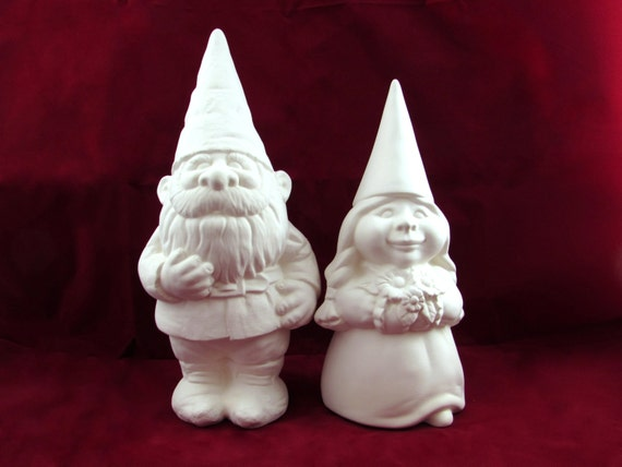 Ready To Paint Gnome Wedding Set Bride And Groom 11 14