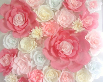 Giant paper flower wall display 4ft x 4ft. Wedding backdrop. Shop window display. Nursery decor. Baby shower flower wall. Wall paper flowers