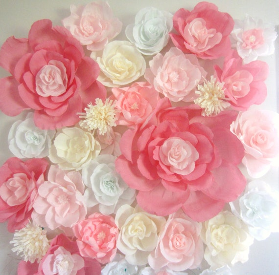 Wall Decoration Paper Flowers : Giant paper flower wall display ft wedding backdrop