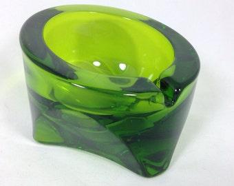 Bright Art Glass Asymetrical Ashtray - Bright Emerald/Olive Green