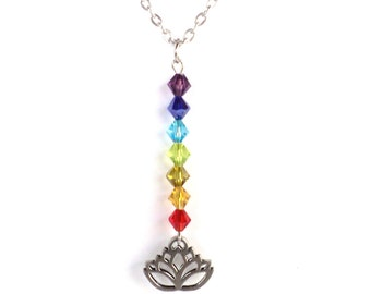 Lotus Necklace  7 Chakra Yoga Jewelry Namaste Talisman Meditation Unique Aum Ohm Spiritual Healing Recovery Gift For Her Under 30 Item A67