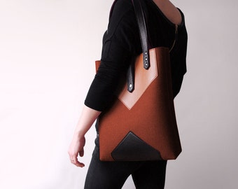Brown Sienna Black Wool Felt Genuine Leather Tote Bag