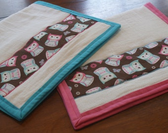 Owl Burp Cloths for Baby Girl Set of 2 Owl Themed Nursery Pink Teal and Brown Baby Shower Gift Baby Gift Forest Nursery Twin Baby Girls