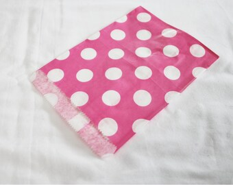 10 Hot Pink and White Polka Dot Paper Candy Bags for Party Favors or Small Gifts 5x7