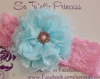 Easter headband/Flower girl headband/Birthday headband/Spring/Summer/Pink and Blue headband/Elegant headband/Photo prop