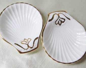 Pair of Shelley Salts, White Shell Shape Dishes with Gold Floral Motif,Gold Trim.Christmas Gift, Kwanza Gift,Housewarming Gift,Wedding Gift