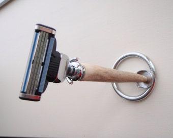 Handmade Deer Antler Tine Mach3 Razor Handle