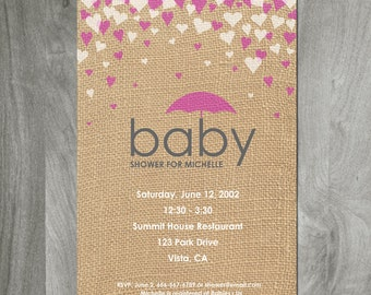 Baby Girl Shower Invitation, Burlap Background, Custom Digital File,  Personalized, Diy Printable, 5 x 7 Card