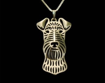 Airedale Terrier - gold pendant and necklace.