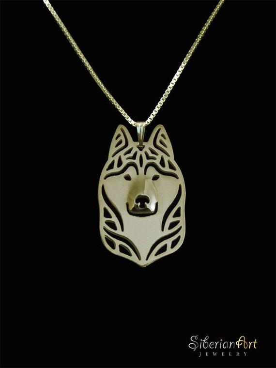 siberian husky necklace - gold