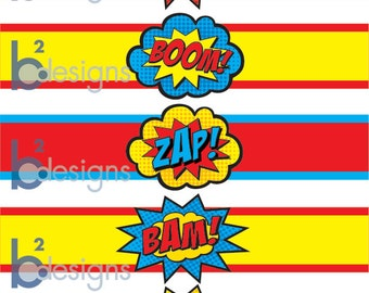 Superhero Waterbottle Labels • Pow! Boom! Zap! Pop! Bam! • PC Color • INSTANT DOWNLOAD