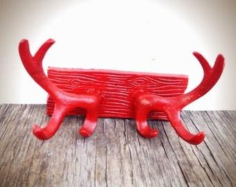 BOLD rustic cast iron deer antler wall hook // coat rack towel hook // bright apple red // shabby cabin boho tribal chic