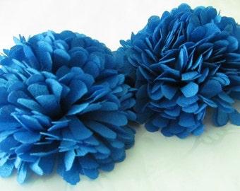 Blue Fabric Flower / Hair Flower / Pom Pom Flower / Chiffon Flower /   2pc  NO CLIPS