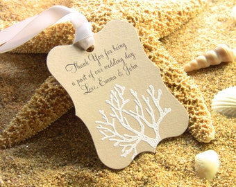 Customize Any Color and Message,10 Wedding Fancy Coral Gift Favor Tags, Hand Embossed Sand Dollar Thank You Tag Beach Weddings Showers Kraft
