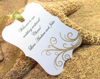 10 Gold Thank You Tags, Customize Any Color and Message, Wedding Favor Tags, Hand Embossed Scroll Thank You Tags,  Showers Hand Embossed