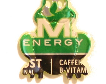 Amp Energy Drink  - FROG MAGNET - from Recycled Soda Pop Can
