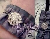 Sparkly Rhinestone and Silk Ruffle Cuff Bracelet Photo Prop