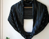 Rock the Larger Casbah  - PU leather discs / stretch knit black scarf / shrug