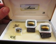 Father's Day Vintage Men's Sterling Silver Anson Genuine Tiger Eye Cuff Links and Tie Tac, 1950's, Original Box, Groom Gift, Best Man Gift,