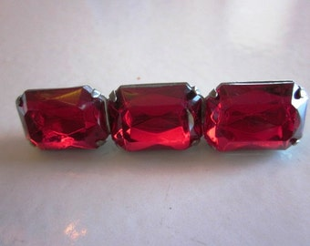 Vintage Ruby Red Rhinestone Bar Brooch in Silver Setting, Christmas Brooch, Birthday, Anniversary, Bridal Bar Brooch