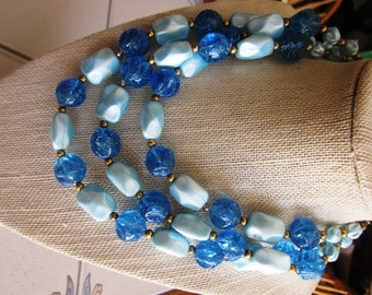 Vintage Blue Beaded Three Strand Necklace