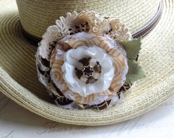 Coco, Latte Inspired Flower, Lace, Brooch, Corsage, Hat Pin, Hair Barrette, Country Wedding, Textile Corsage Brooch, Floral Bridal Sash