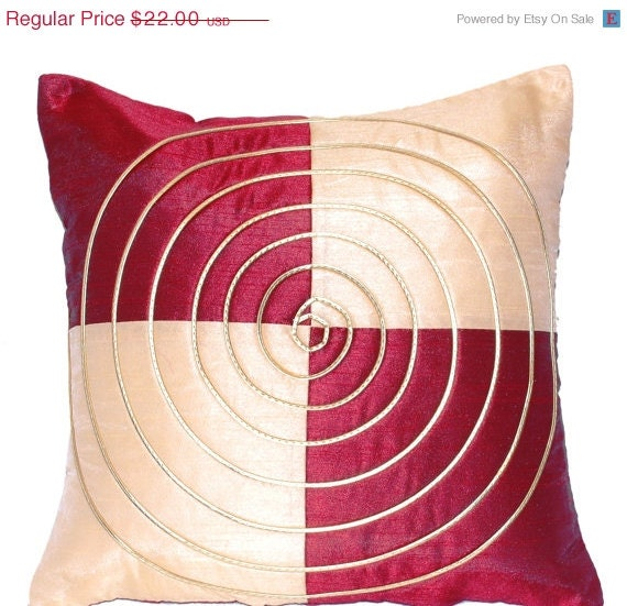 Throw Pillow Covers Cream : Pillow Cover Burgundy Cream Throw Pillow Cover by TheHomeCorner