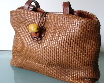 Vintage Made in Italy Basket Weave Leather Shoulder Bag