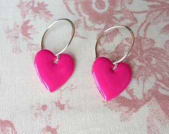 Hot Pink Heart Earrings. Pink Earrings. Enamel Heart Earrings. Sterling Silver Earrings.  Pink Drop Earrings. Dangle Earrings. UK Seller