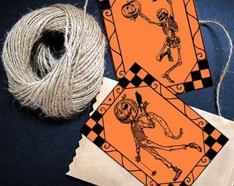 Printable Halloween Skeleton Pumpkin Scarecrow Decoration, Digital Image Download, Png, Jpg, Pdf, Treat Bag, Tags, Banner, Label, Diy Party