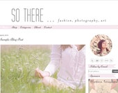 Premade Blogger Template Design - So There  Blog Theme - pink, white, grey, ribbon