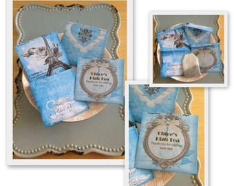 "Tea Bag Favor ""The Blues Paris"" Handmade High Tea Bridal Shower Invitations Wedding Favors Blue - Including Tea Bag"
