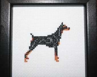 Doberman Pinscher Cross Stitched Full Body Dog.