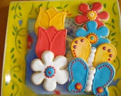 Butterfly, Tulip, Flower Decorated Sugar Cookies for Birthday, Wedding, Shower Favors - 1 Dozen