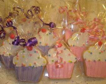 Cupcake Decorated Sugar Cookies - 1 Dozen