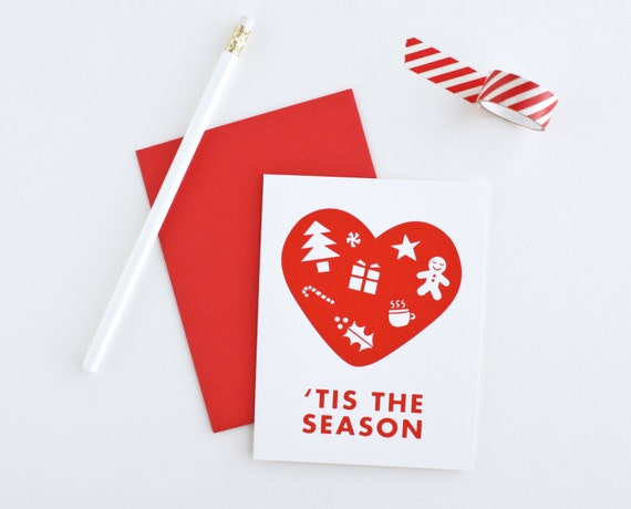 Tis The Season, Holiday Card, Red, Screenprinted