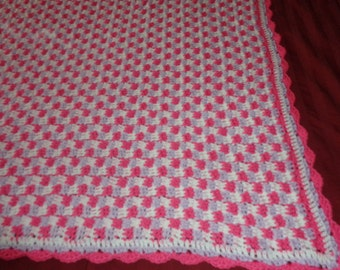 Crocheted Baby Quilt / Baby Blanket / Baby Girl Afghan / Pink Baby Cover / OOAK New Baby Gift / Baby Shower Gift